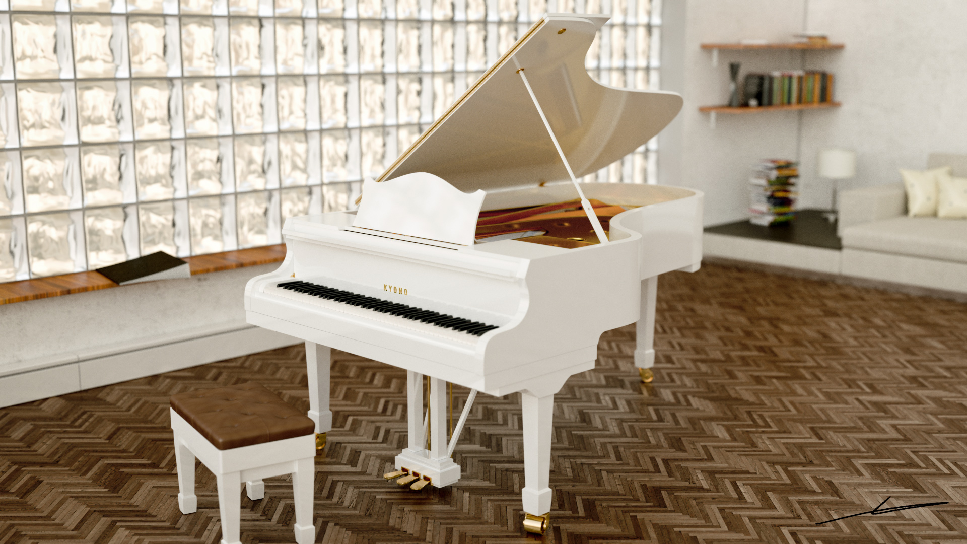 Grand piano next to a window.